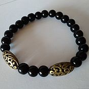 Украшения handmade. Livemaster - original item Men`s women`s bracelet with Vintage inserts Black agate. Handmade.