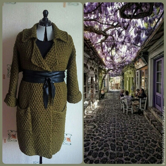 Верхняя одежда ручной работы. Ярмарка Мастеров - ручная работа. Купить Вязаное пальто-тренч OLIVA. Handmade. Зеленый, кардиган
