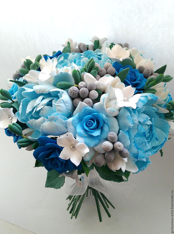 Свадебный букет невесты из полимерной глины с голубыми пионами и синими розами. Что может быть необычнее?