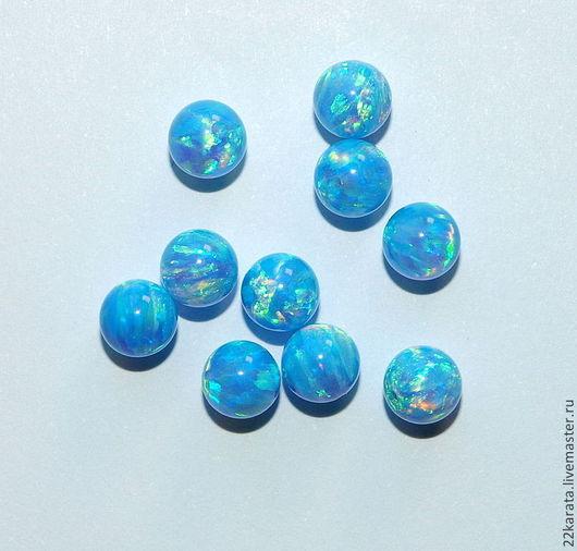 Для украшений ручной работы. Ярмарка Мастеров - ручная работа. Купить Опал синтетический, шар 5, голубой. Handmade. Голубой