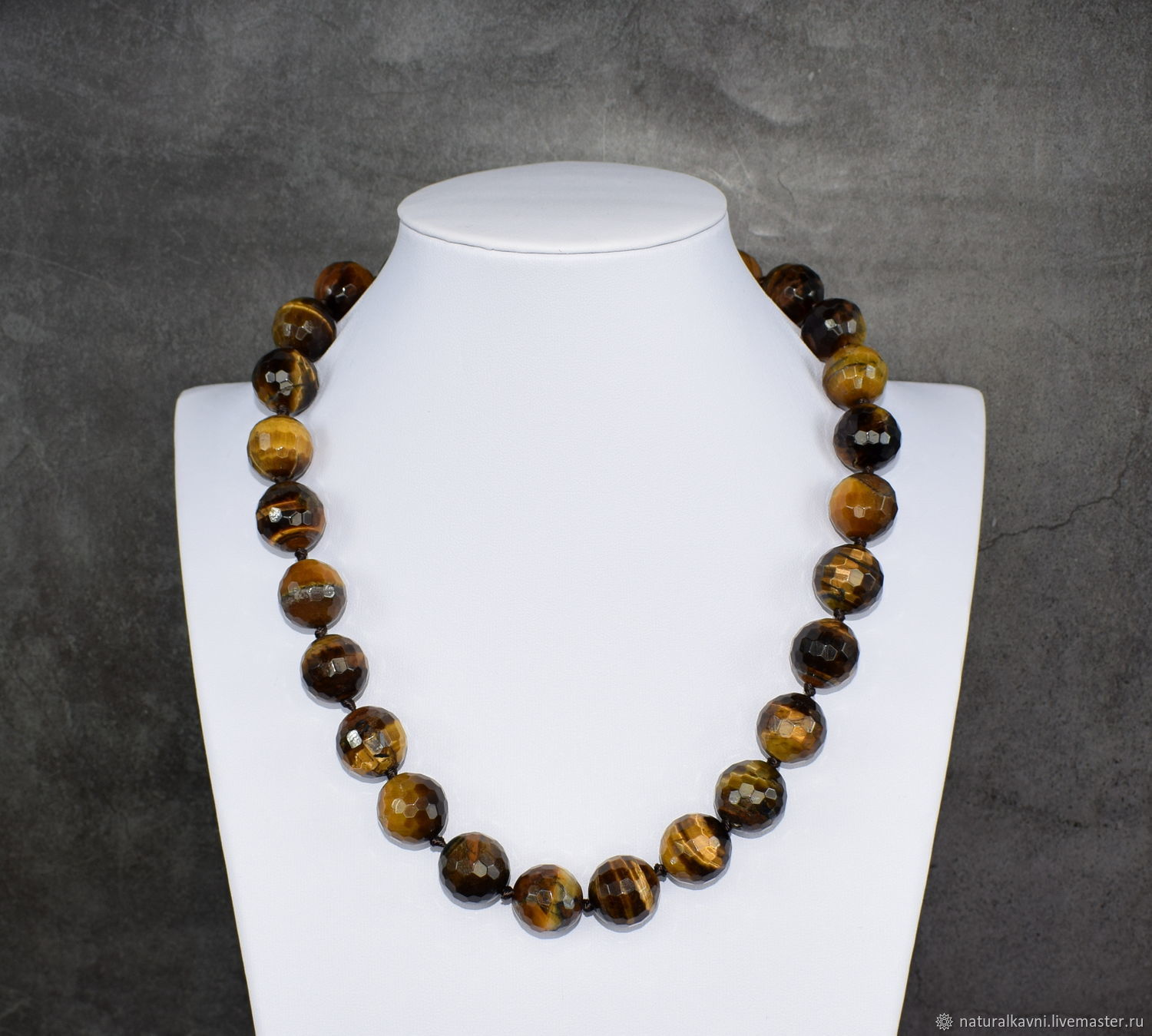 Large beads made of tiger's eye stone with a cut, Beads2, Moscow,  Фото №1