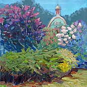 Картины и панно handmade. Livemaster - original item Oil painting. Blooming garden. Handmade.