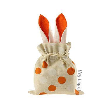 Свадебный салон ручной работы. Ярмарка Мастеров - ручная работа 13х15см. Мешочки льняные с оранжевыми ушками, бежевые в горошек. Handmade.