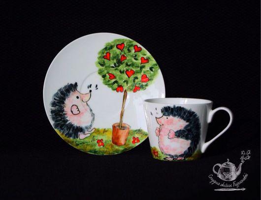 """Сервизы, чайные пары ручной работы. Ярмарка Мастеров - ручная работа. Купить Чайная пара """"Веселый Ёжик"""". Handmade. Разноцветный"""