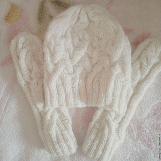 """Шапки ручной работы. Ярмарка Мастеров - ручная работа. Купить Комплект """"Белоснежный"""". Handmade. Белый, шапка, шапка женская, полушерсть"""