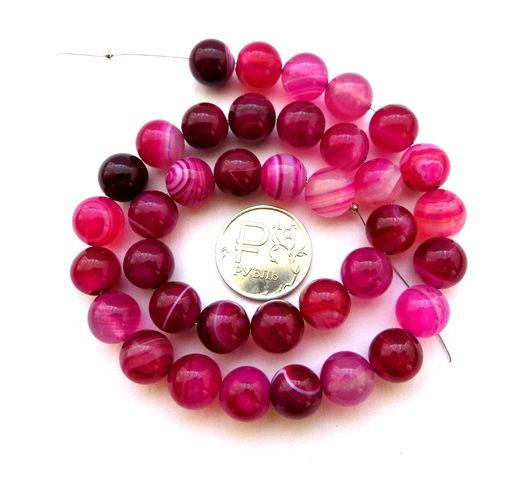 Для украшений ручной работы. Ярмарка Мастеров - ручная работа. Купить Агат 37 камней набор розовый бусины шар 10 мм гладкие. Handmade.