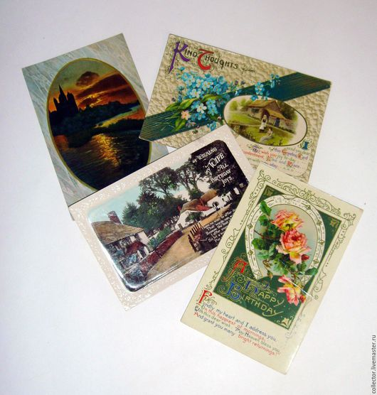 Винтажные сувениры. Ярмарка Мастеров - ручная работа. Купить Старые антикварные открытки. Handmade. Комбинированный, антикварные открытки, подарок, картон