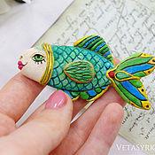 Украшения handmade. Livemaster - original item Brooch fish hand painted papier mache. Handmade.