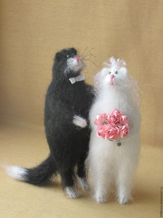 Игрушки животные, ручной работы. Ярмарка Мастеров - ручная работа. Купить Свадебные котики. Handmade. Чёрно-белый, Праздник, жених