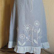 Одежда ручной работы. Ярмарка Мастеров - ручная работа Льняная юбка в стиле бохо. Handmade.