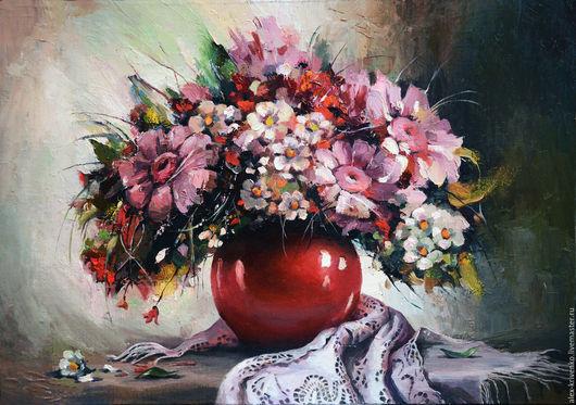 Картины цветов ручной работы. Ярмарка Мастеров - ручная работа. Купить Цветы в красной вазе. Handmade. Розовый, букет цветов