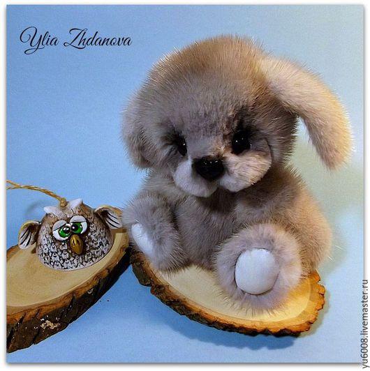 Мишки Тедди ручной работы. Ярмарка Мастеров - ручная работа. Купить Норковая Зайка Снежичка. Handmade. Голубой, норковая зайка