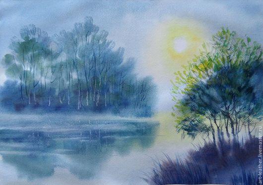 """Пейзаж ручной работы. Ярмарка Мастеров - ручная работа. Купить """" Солнце встает..."""". Handmade. Разноцветный, акварель, пейзаж"""