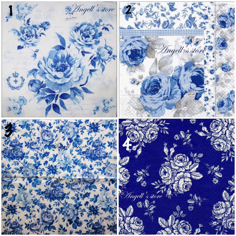 Салфетки 4 вида Голубые розы и орнамент, Салфетки для декупажа, Астрахань, Фото №1
