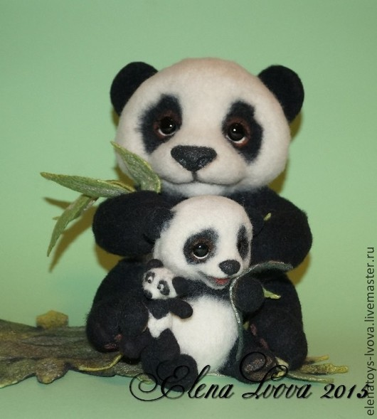 мама-панда Лима (27см) малюсенький панденыш  Миня (13см) (усыновлен)