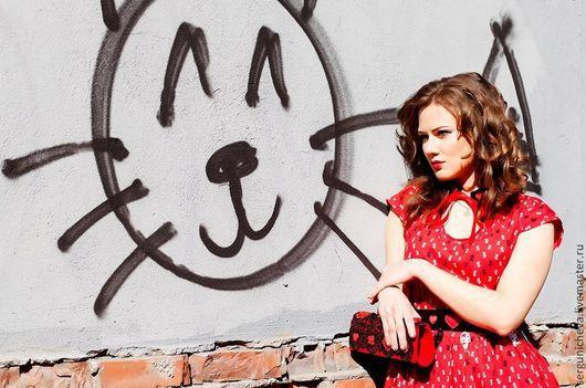 """Платья ручной работы. Ярмарка Мастеров - ручная работа. Купить Платье""""Рussy"""". Handmade. Ярко-красный, пышное платье, платье с поясом"""