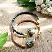Украшения handmade. Livemaster - original item Leather bracelet with pyrite. Handmade.