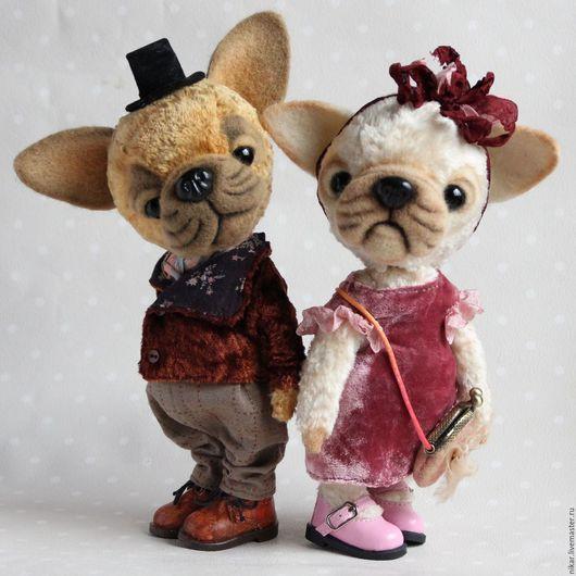Мишки Тедди ручной работы. Ярмарка Мастеров - ручная работа. Купить Джордж и Долли, бульдоги тедди. Handmade. Разноцветный, подарок