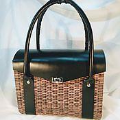 Классическая сумка ручной работы. Ярмарка Мастеров - ручная работа Плетеная сумка с кожаной крышкой из бумажной лозы. Handmade.
