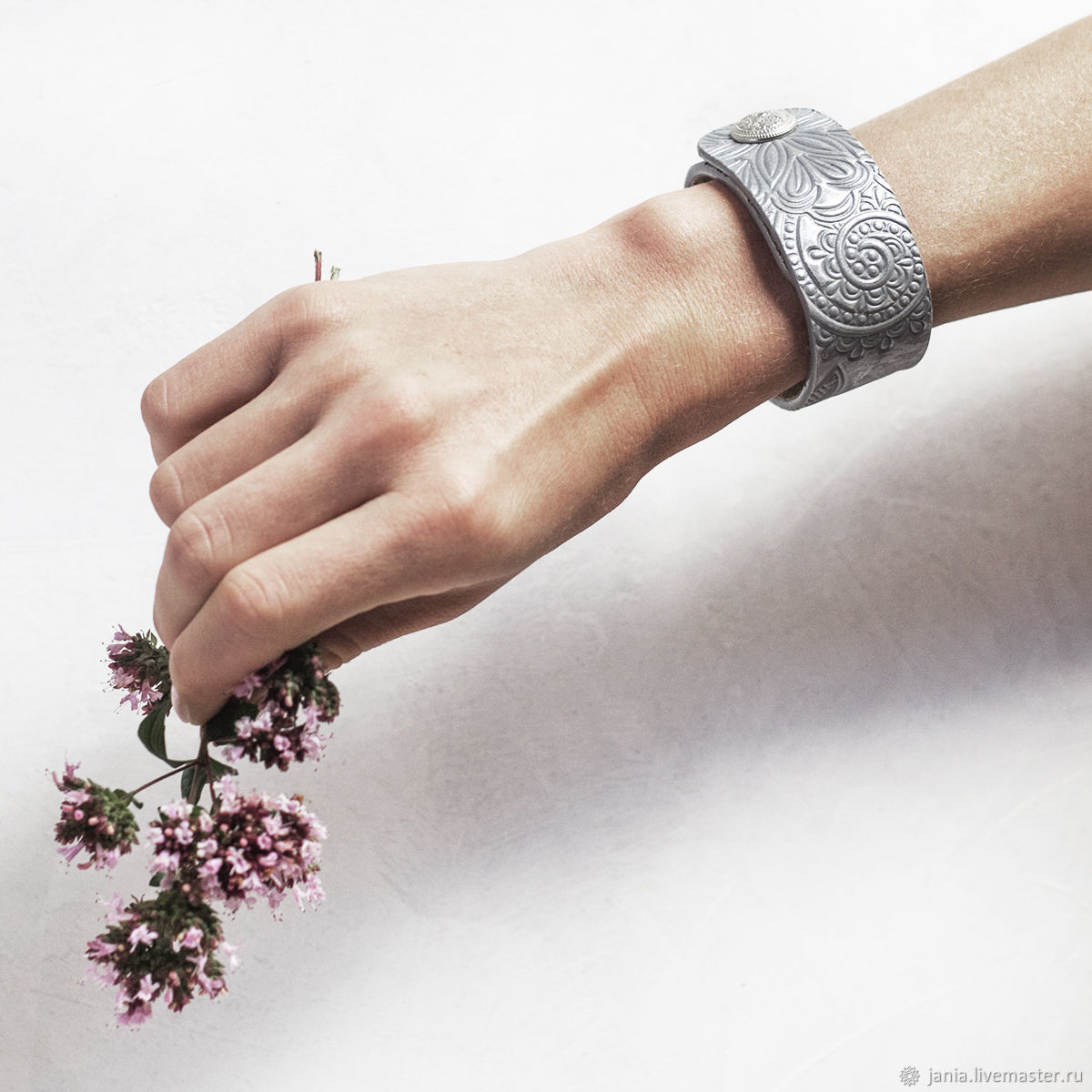 Leather bracelet with embossed Silver, Cuff bracelet, Ivanovo,  Фото №1