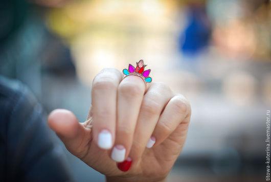 Кольца ручной работы. Ярмарка Мастеров - ручная работа. Купить Сказочный цветок. Handmade. Разноцветный, медное кольцо, аленький цветочек