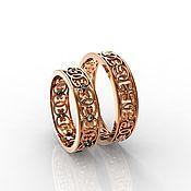 handmade. Livemaster - original item Paired wedding rings with patterns, gold 585 (Ob28). Handmade.