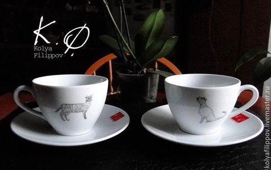 """Сервизы, чайные пары ручной работы. Ярмарка Мастеров - ручная работа. Купить Чайная пара  """"Кошки, кошки, кошки!"""". Handmade."""