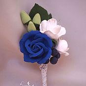 Свадебный салон handmade. Livemaster - original item Boutonniere for groom with blue rose and freesia. Handmade.