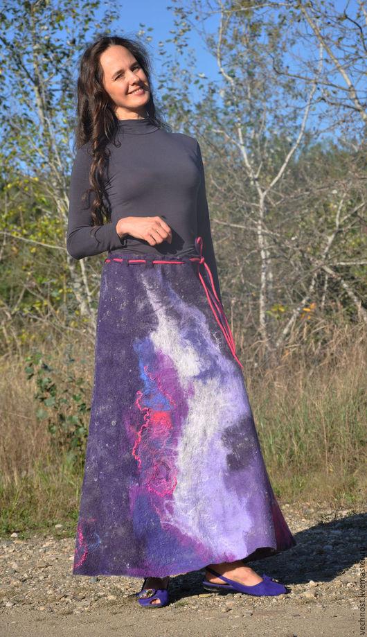 """Юбки ручной работы. Ярмарка Мастеров - ручная работа. Купить Валяная юбка """"Космос"""". Handmade. Разноцветный, юбка из войлока, флис"""