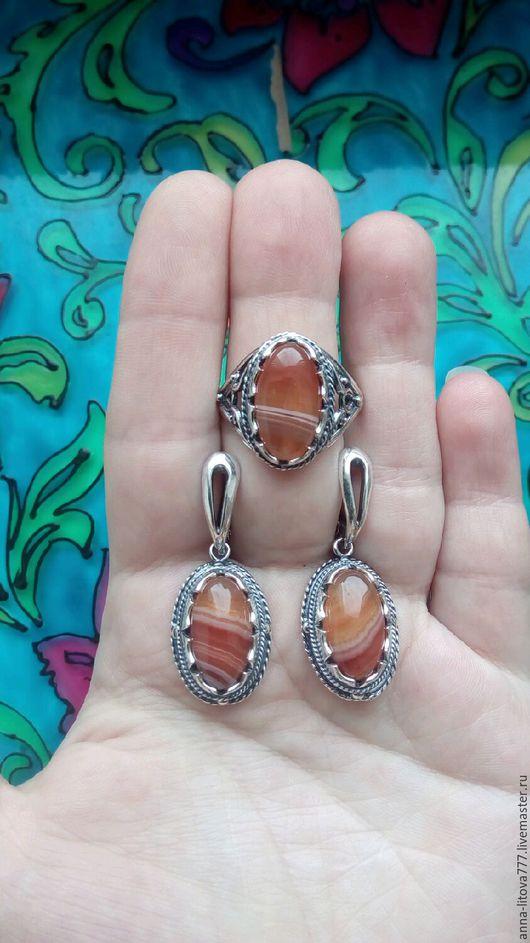 Комплекты украшений ручной работы. Ярмарка Мастеров - ручная работа. Купить 119 Комплект серебрение серьги и кольцо с камнями. Handmade.