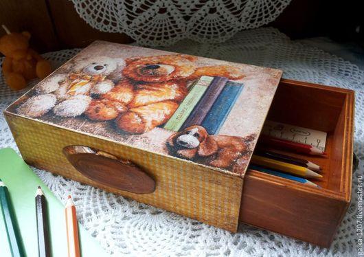 """Пеналы ручной работы. Ярмарка Мастеров - ручная работа. Купить Короб-пенал """"Мишки и книжки"""". Handmade. Коричневый, короб-шкатулка"""