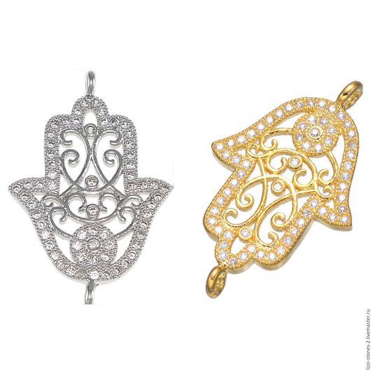 Коннектор Хамса Ажурная серебро и золото (Milano) Евгения (Lizzi-stones-2)