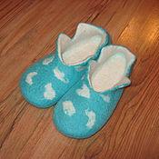 """Обувь ручной работы. Ярмарка Мастеров - ручная работа Тапочки из шерсти """"Лазурный леопард"""". Handmade."""