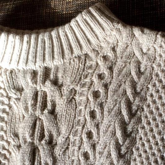 Кофты и свитера ручной работы. Ярмарка Мастеров - ручная работа. Купить Свитер с аранами (косами) в стиле Рубан. Handmade. Однотонный