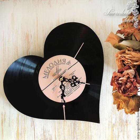 Часы для дома ручной работы. Ярмарка Мастеров - ручная работа. Купить Часы Сердце из виниловой пластинки. Handmade. Черный, винтаж