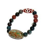 Украшения handmade. Livemaster - original item Natural Jasper bracelet with DZI nine eyes beads. Handmade.