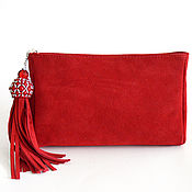 Сумки и аксессуары handmade. Livemaster - original item Red suede clutch with brush