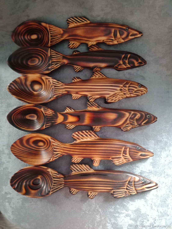 Ложки ручной работы. Ярмарка Мастеров - ручная работа. Купить Деревянные походные ложки ( подарок рыбаку). Handmade.