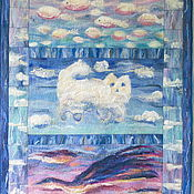 """Для дома и интерьера ручной работы. Ярмарка Мастеров - ручная работа Плед детский """"В облаках"""" войлок. Handmade."""
