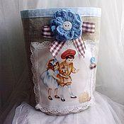 """Для дома и интерьера ручной работы. Ярмарка Мастеров - ручная работа Корзинка """"Малыши"""" (голубая). Handmade."""