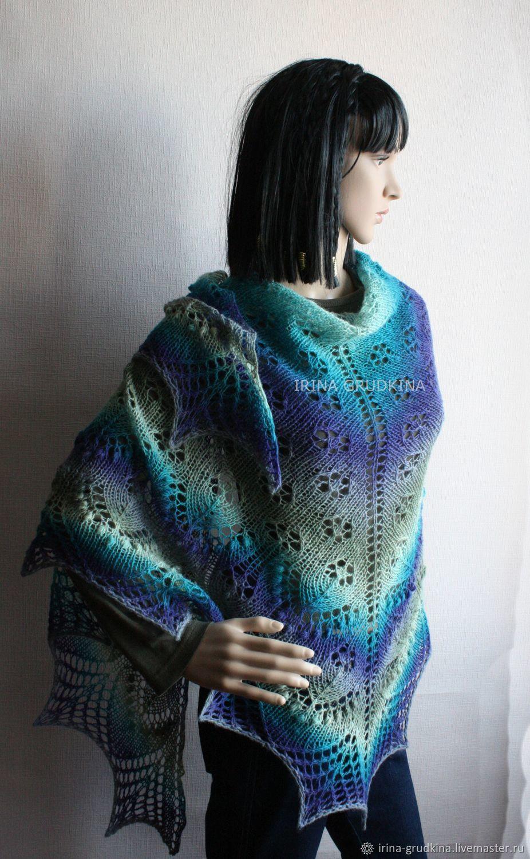 Shawls & Warm Stoles handmade. Livemaster - handmade. Buy Pure wool openwork shawl in blue-gray tones.