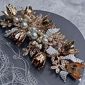 Свадебный салон handmade. Livemaster - original item Bridal comb. Golden tulips. Handmade.