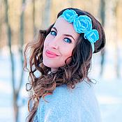 """Украшения ручной работы. Ярмарка Мастеров - ручная работа Повязка на голову с светло-голубыми розами """"Нежность"""". Handmade."""