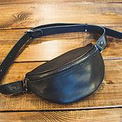 Waist Bag handmade. Livemaster - original item Fanny pack black leather. Handmade.