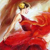 Картины и панно ручной работы. Ярмарка Мастеров - ручная работа Картина Кармен, огонь, девушка в танце, масло. Handmade.