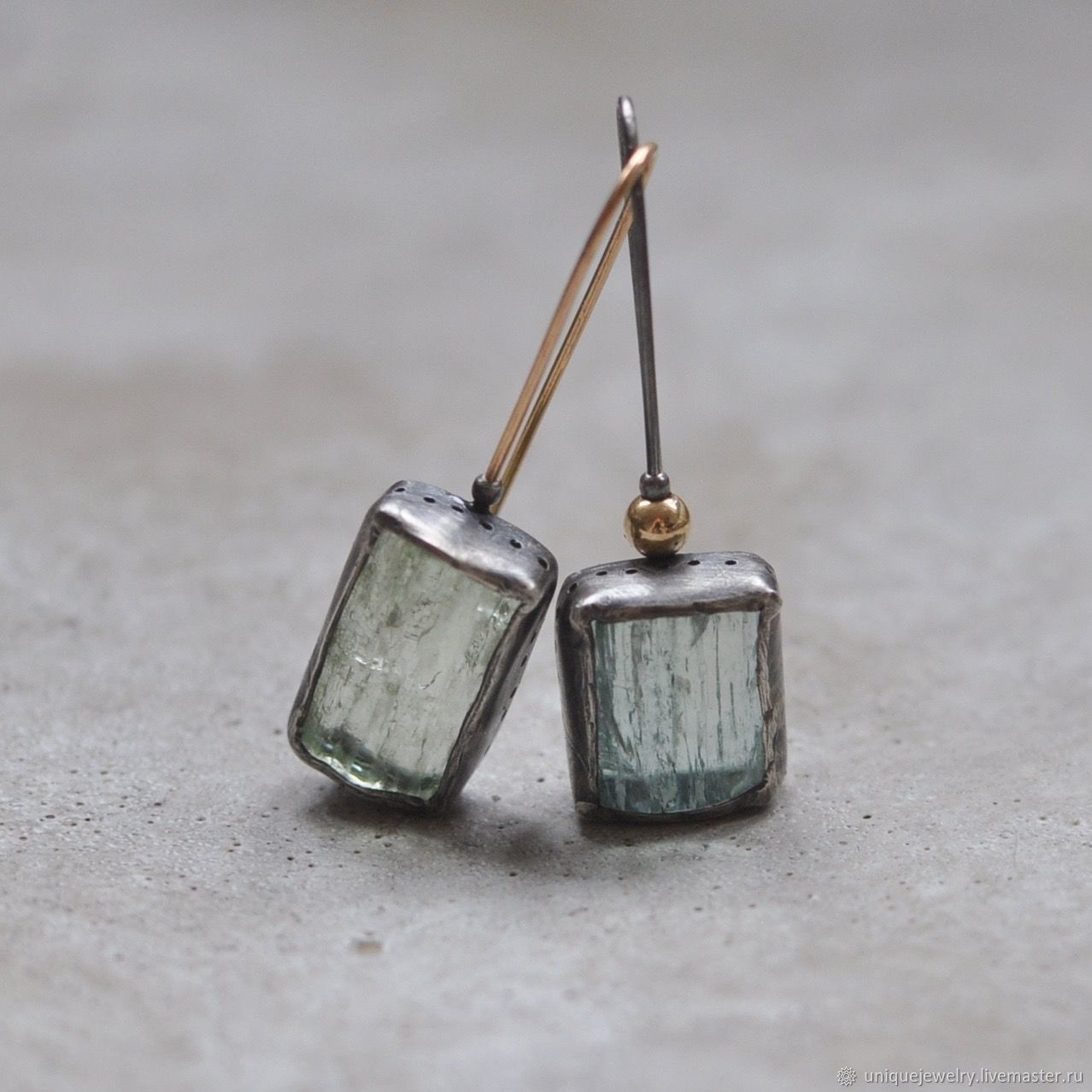 Asymmetrical earrings with beryl, silver and Goldfield, Earrings, Moscow,  Фото №1