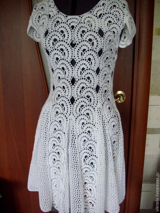 """Платья ручной работы. Ярмарка Мастеров - ручная работа. Купить Платье """"косичка"""". Handmade. Белый, вязание на заказ, платье вязаное"""