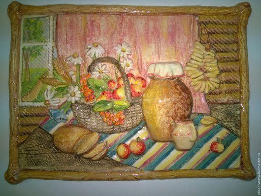 """Натюрморт ручной работы. Ярмарка Мастеров - ручная работа. Купить Керамическая картина. """"Русский завтрак"""". Handmade. Комбинированный, панно на стену"""