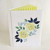 Блокноты ручной работы. Ярмарка Мастеров - ручная работа Блокнот ручной работы с вышивкой Жёлтые розы. Handmade.