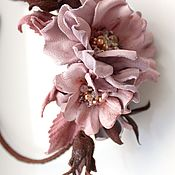 Украшения handmade. Livemaster - original item Rim with flowers, a wreath of leather, suede. Handmade.